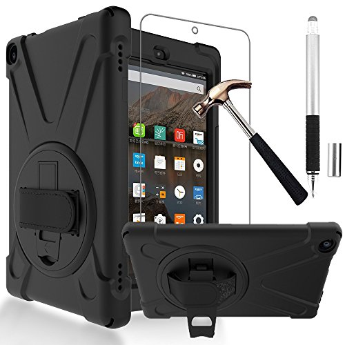 Gzerma Fire HD 8 Case 7th Generation with Fire HD8 Screen Protector 2017, 3in1 [Kid Proof] Shockproof Heavy Duty Cover with Hand Strap, Stylus Pen, Kickstand for All New Amazon Kindle Fire 8 (Black) by Gzerma (Image #9)'