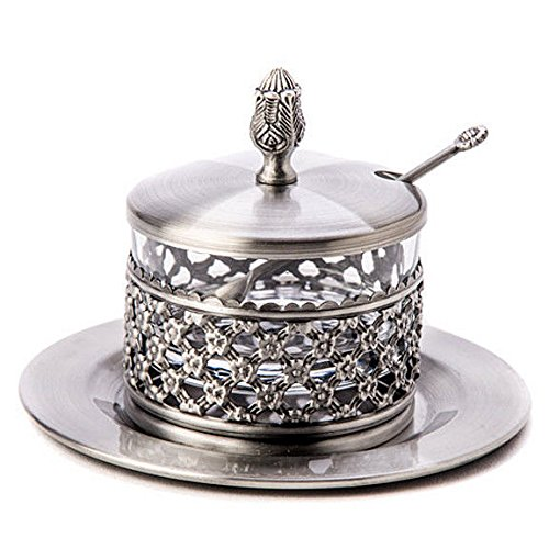 Silver plated Adorn Rosh Hashana Honey Dish, Spoon & saucer, Grapes Design. Great Gift for: Yom Kippur Rosh Hasana Shabbat Purim Sokot Simchat Torah Hanukkah Passover Lag Baomer Shavuot Rabbi Temple Chupah Wedding Housewarming Bar Mitzvah Bat Mitzva And J