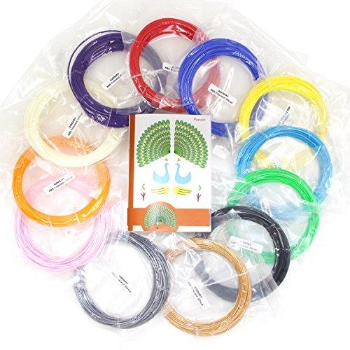 Juboury 384 Linear Feet 3D Pen Filament Refills- 1.75mm ABS Filament Pack with 12 Colors Refill Loop in 32 Linear Feet Each- Bonus 120 Stencils Book
