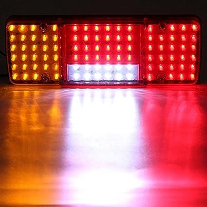 Pack of 2 12V HEHEMM 92 LED Rear Tail Lights Reverse Lamp For Trailer Caravan Truck Lorry