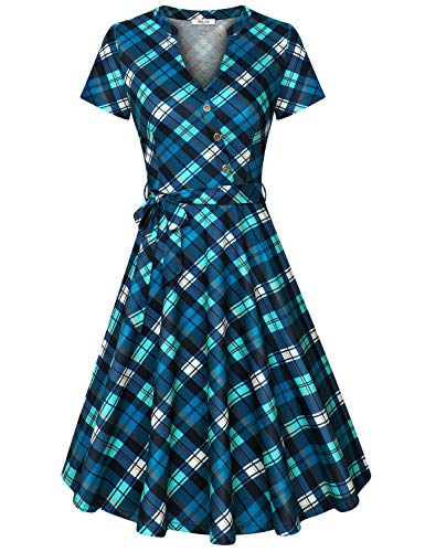 Diphi LiLi Women's V Neck Dresses Long Sleeve Button Down Shirt Vintage Plaid Dress (Green, Large) (Vintage Button Down Shirts)
