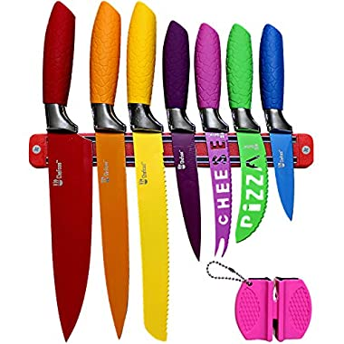 Kitchen Knife Set Plus Magnetic Strip and Sharpener by Chefcoo™ Awesome Color Addition to your Cooking Cutlery Tools and Kitchen Gadgets Collection - Includes Cheese, Pizza, Paring, Utility, Slicer, Bread and Chef Knives, - Elegant Gift Packaging Design