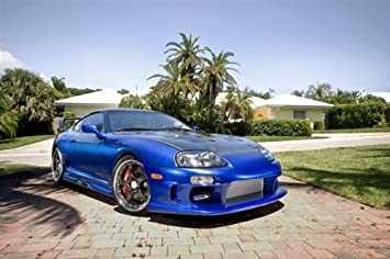 Toyota Supra Single Turbo Right Front Blue on 360 Forged wheels HD Poster 48 X 32