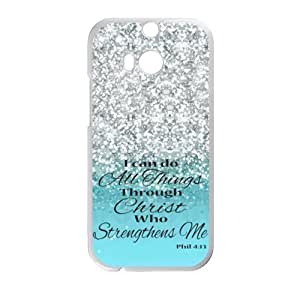 HTC One M8 Case Cover - I Can Do All Things Through Christ Who Strengthens Me Philippians 4:13 - Bible Verse Blue Sparkles Glitter Design Case Cover for HTC One M8 For Impact Protection Super Fit HTC One M8 (Laser Technology) -