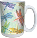 Dragonflies Coffee Mug - Large 15-Ounce Ceramic Cup, Full-Size Handle - Gift for Dragonfly, Nature Lovers + Gardeners - Tree-Free Greetings 79016