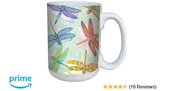 ea6cbca3e2d Dragonflies Coffee Mug - Large 15-Ounce Ceramic Cup, Full-Size Handle -  Gift for Dragonfly, Nature Lovers + Gardeners - Tree-Free Greetings 79016