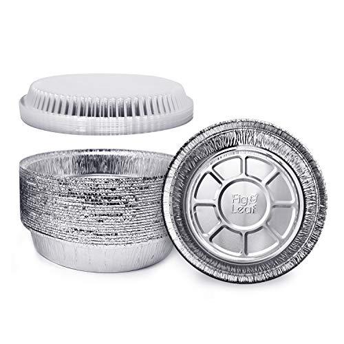 Fig & Leaf (60 Pack) Premium 7-Inch Round Foil Pans with Plastic Dome LIDS l Heavy Duty 24 Gauge l 2