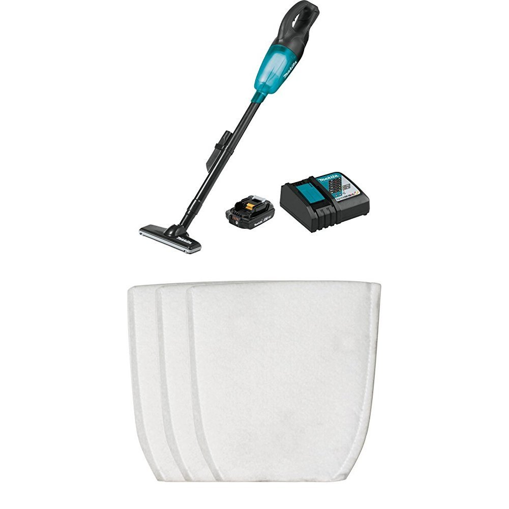 Makita XLC02R1B 18V LXT Lithium-Ion COMPACT Cordless Vacuum Kit (2.0Ah) with T-03193 Cloth filter (3-pack)