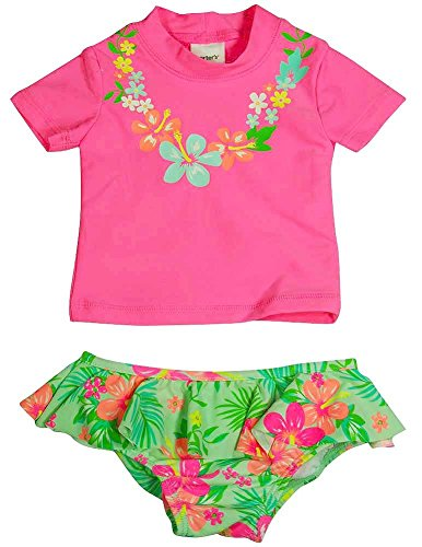 Carter's - Little Girls 2 Piece SPF 50 Short Sleeve Floral Rashguard Set, Neon Pink, Green 37772-4 (Joker Suit For Sale)