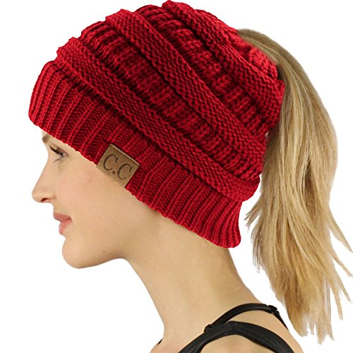Ponytail Messy Bun BeanieTail Soft Winter Knit Stretchy Beanie Hat Cap Solid Red ()