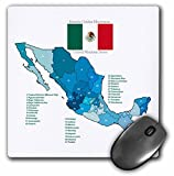 Flag and Map of Mexico with all the Mexican states identified by name - Mouse Pad, 8 by 8 inches (mp_110021_1)