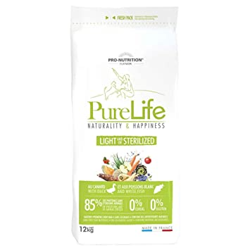 Flatazor Pro Nutrition Pure Life Light stérilisé 12 kgs: Amazon.es: Productos para mascotas
