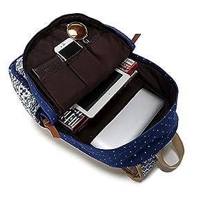 KISS GOLD(TM) Canvas Backpack Shoulder Bag Laptop Bag Super Cute Schoolbag for Women Teen Young Girls(Black)