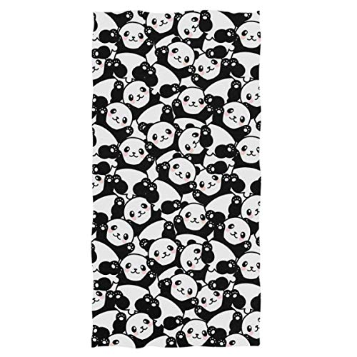 Naanle Cute Cartoon Pandas Pattern Soft Highly Absorbent Large Decorative Hand Towels Multipurpose for Bathroom, Hotel, Gym and Spa (16 x 30 Inches,Black White) (Panda Hand Towel)