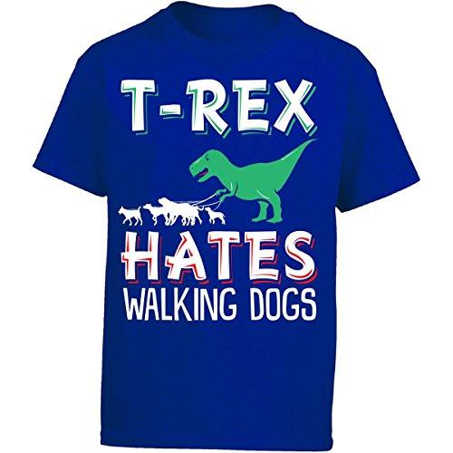 Penguin Walking T-shirt (T-rex Hates Walking Dogs - Girl Kids T-shirt Kids S Royal)