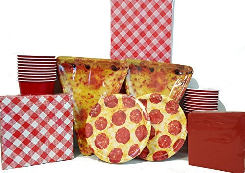 Pizza Party Plates Napkins Tablecloth & Cups Deluxe (Deluxe Package) Pizza Night Pack Bundle kit Supplies16 persons