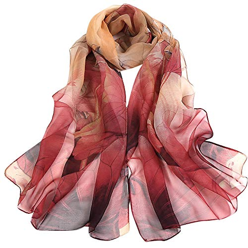 (Silk Scarf-Han Shi Fashion Women Vintage Lotus Print Long Soft Wrap Shawl Wrap (Red, L))