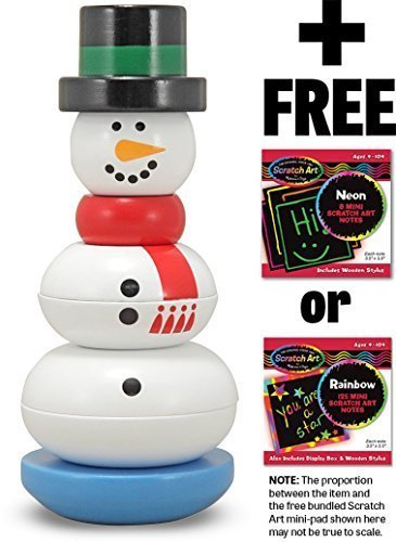 - Snowman Stacker + FREE Melissa & Doug Scratch Art Mini-Pad Bundle [16087]