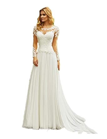 Automan Beach Wedding Dresses Long Sleeve Lace Keyhole Back