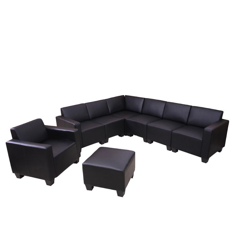 Modular Sofa-System Couch-Garnitur Lyon 6-2, Kunstleder ~ schwarz