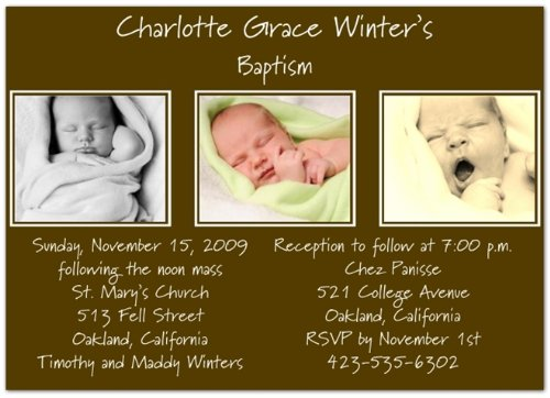 Take Three on Chocolate Baptism Invitations Christening Invitations - Set of 20 Baptism Chocolates