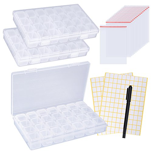 OPount 28 Slots Diamond Embroidery Box 3 Pack Diamond Painting Accessory Boxes with 2 Pieces Label Stick, 1 Pieces Double-Headed Marker Pen and 15 Pieces Plastic Self-Seal Bags for DIY Art Craft by PP OPOUNT