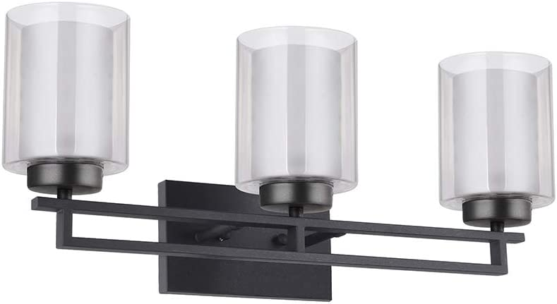TENGXIN 3 Lights Bathroom Vanity Wall Lamp with Glass Shade in Oil Rubbed Bronze,Up Down Interior Wall Lamp,UL Listed