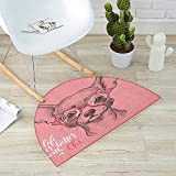 Dog Semicircular Cushion Girl Chihuahua Sketch Illustration with Quote Fashion Glasses Ribbons Puppy Entry Door Mat H 51.1'' xD 76.7'' Pale Pink Army Green