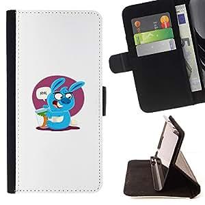 Momo Phone Case / Flip Funda de Cuero Case Cover - Lindo conejo azul;;;;;;;; - Samsung ALPHA G850