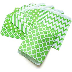KIYOOMY 100 Pcs Candy Buffet Bags Small Paper Treat Bags (Lime Green, 5 inch X 7 inch)