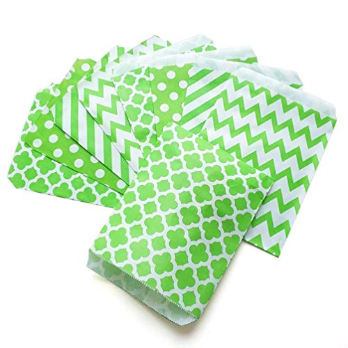 100 Candy - KIYOOMY 100 Pcs Candy Buffet Bags Small Paper Treat Bags (Lime Green, 5'' X 7'')
