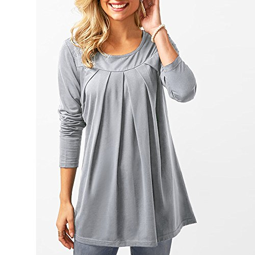 Amazon.com: ZHANGVIP Women Casual Solid Color O-Neck Fall Blouse Long Sleeve Pleated T-Shirt Tops(S-2XL): Clothing