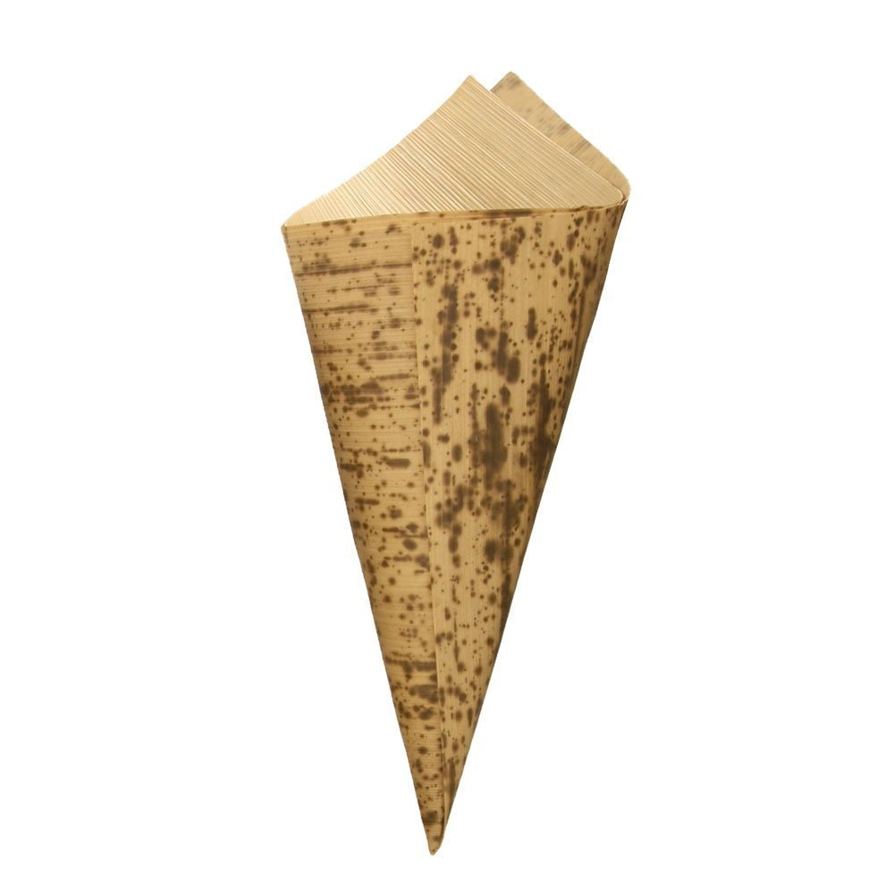BambooMN 6.7'' x 3'' Premium Bamboo Leaf Cone, All Natural and Disposable Compostable for Catering and Home Use, 100 Pieces