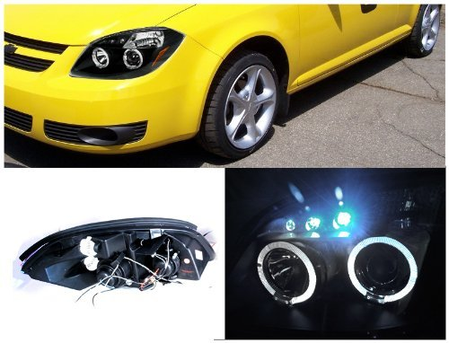Spec-D Tuning 2LHP-COB05JM-TM Pontiac G5 Chevy Cobalt 2x Halo Led Black Projector Head Lights by Spec-D Tuning