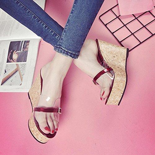 con Aumentan De Zapatos Que Altura Sandalias Mujer La Verano Vino Plataforma Transparente Toamen CuñA Zapatilla q0xT4wXOv