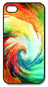 cover customizable multicolor spirals PC Black Case for iphone 4/4S
