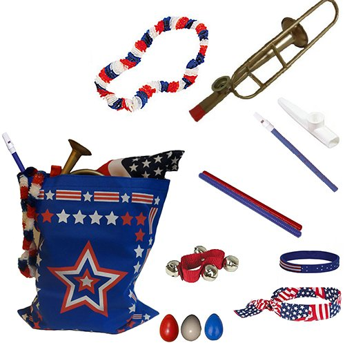 - Labor Day Picnic / Parade Pack for Kids - Patriotic USA Music & Fun Pack Includes: Patriotic Bag, Trombone Kazoo, Red White Blue Lei, Stars & Stripes Bandana, Flag Bracelet, Blue Magic Flute, Red Jingle Bell, White Kazoo, Red Blue & White Percussion Shakers, Red & Blue Fluted Rhythm Sticks- Perfect Labor Day Picnic Party Favor Bag