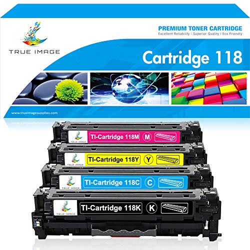 True Image Compatible Toner Cartridge Replacement for Canon 118 CRG118 Canon Imageclass MF726CDW MF8580CDW MF8500C MF8350CDN MF8380CDW LBP7660CDN MF8580CDW MF720C Printer - Black Cyan Magenta - Coin Set Printed