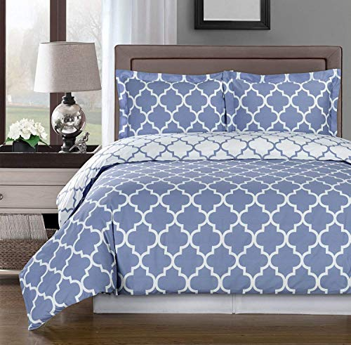 Simply Linens Periwinkle and White Meridian 4pc King/California King Comforter Set 100% Cotton 300 Thread Count