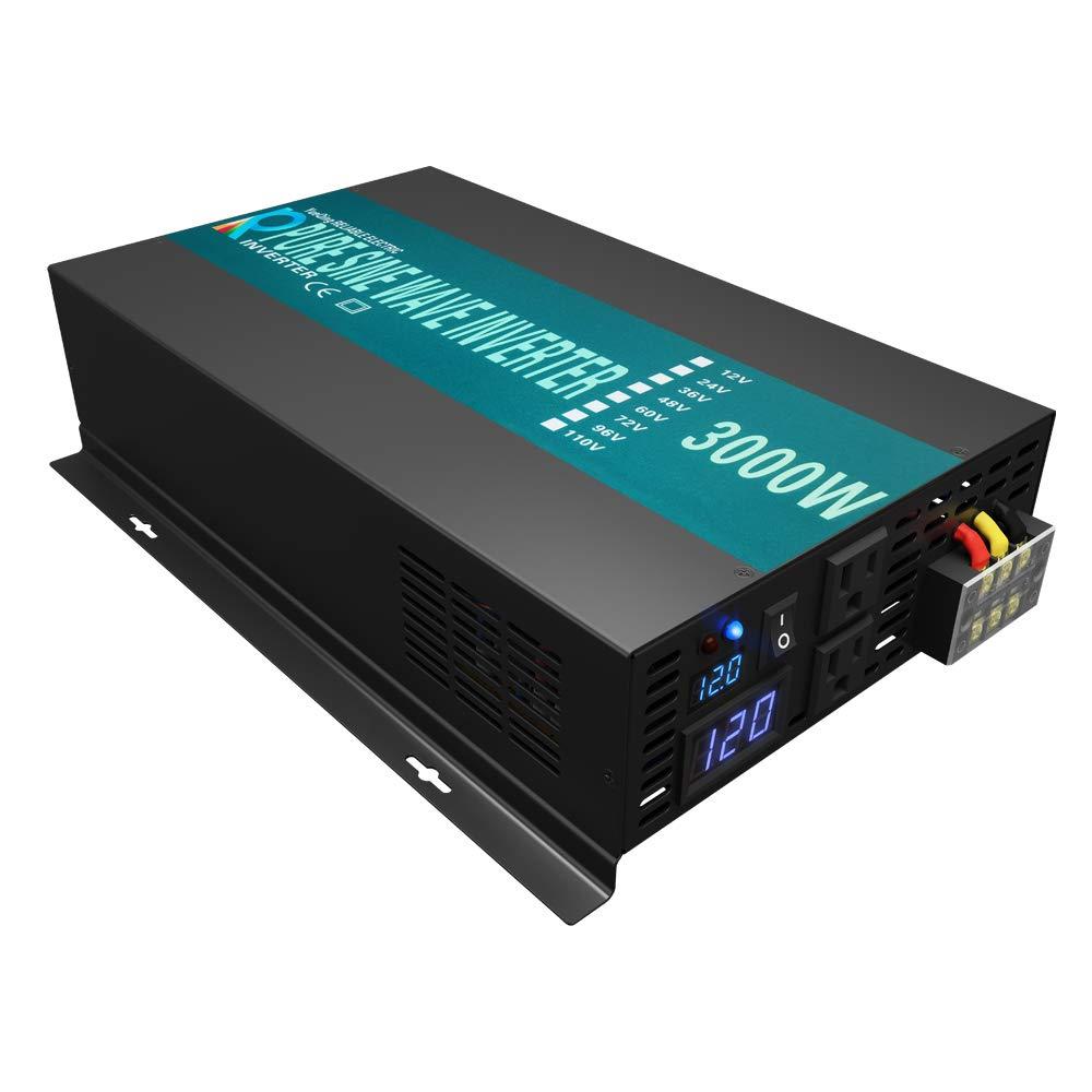 Reliable 3000W High Efficiency Pure Sine Wave Solar Power Inverter 12V 120V 60Hz Power Converter LED Display by WZRELB