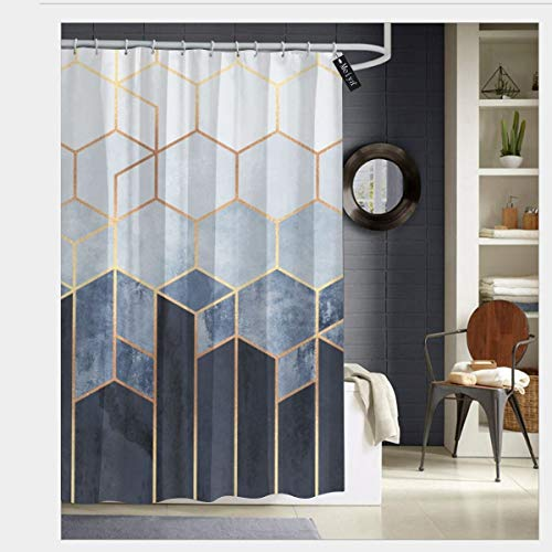 Puloa Soft Blue Hexagons Shower Curtains with 12 Hooks Bathroom Curtain 72