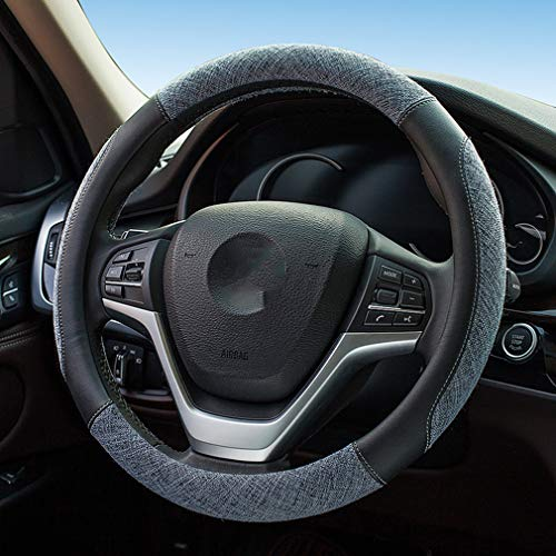 coofig Leather Hand Sewing Fashion, Breathable, Skidproof Car Steering Wheel Cover Universal 15inch (Gray, ()