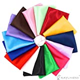 Arts & Crafts : RayLineDo 15pcs 2520cm Silky Satin Patchwork Fabric Bundle Quilting Wedding Table Decor in 15 Solid Color