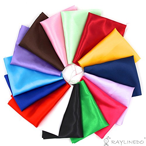 RayLineDo 15pcs 2520cm Silky Satin Patchwork Fabric Bundle Quilting Wedding Table Decor in 15 Solid Color