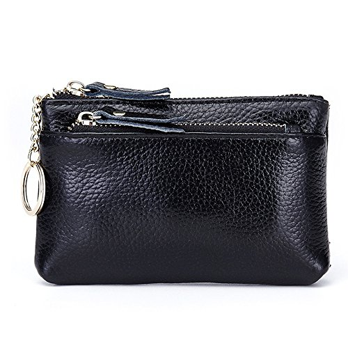 Aladin Leather Coin Purse with Key Chain - Triple Zipper Card Holder Wallet
