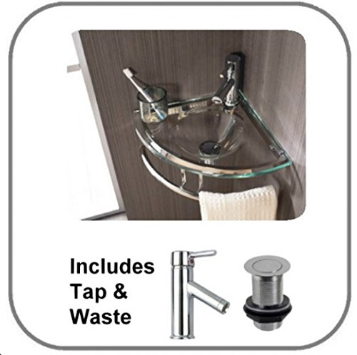 Clickbasin Brescia Wall Mounted Clear Glass 35cm By 35cm Corner Basin With Towel Rail Set