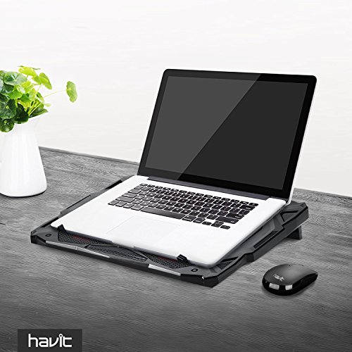 HAVIT 5 Fans Laptop Cooling Pad for 14-17 Inch Laptop, Cooler Pad with LED Light, Dual USB 2.0 Ports, Adjustable Mount Stand (Black)