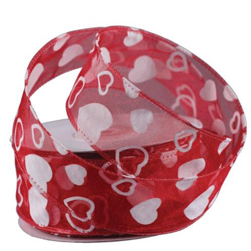 1.5 Flock Heart Organza Wired Edge Ribbon Love Valentine 25 Yard Roll (Red Organza)
