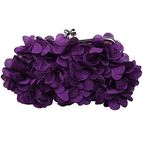 (Fawziya Kiss Lock Purse And Handbag Satin Flower Clutch Bag-Purple)