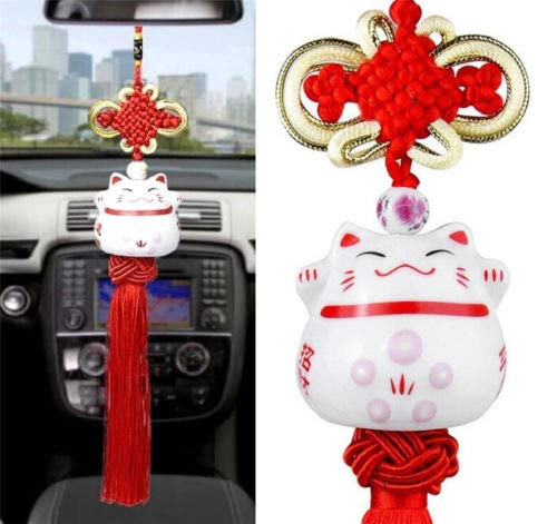 (EatingBiting(R) Maneki Neko Lucky Fortune Cat Fengshui Pendant Ceramics Hanging Pendant Ring Home Car Decoration, 招き猫 Fortune Prosperity Avoid Evil Beautiful Health Wealth Rich)